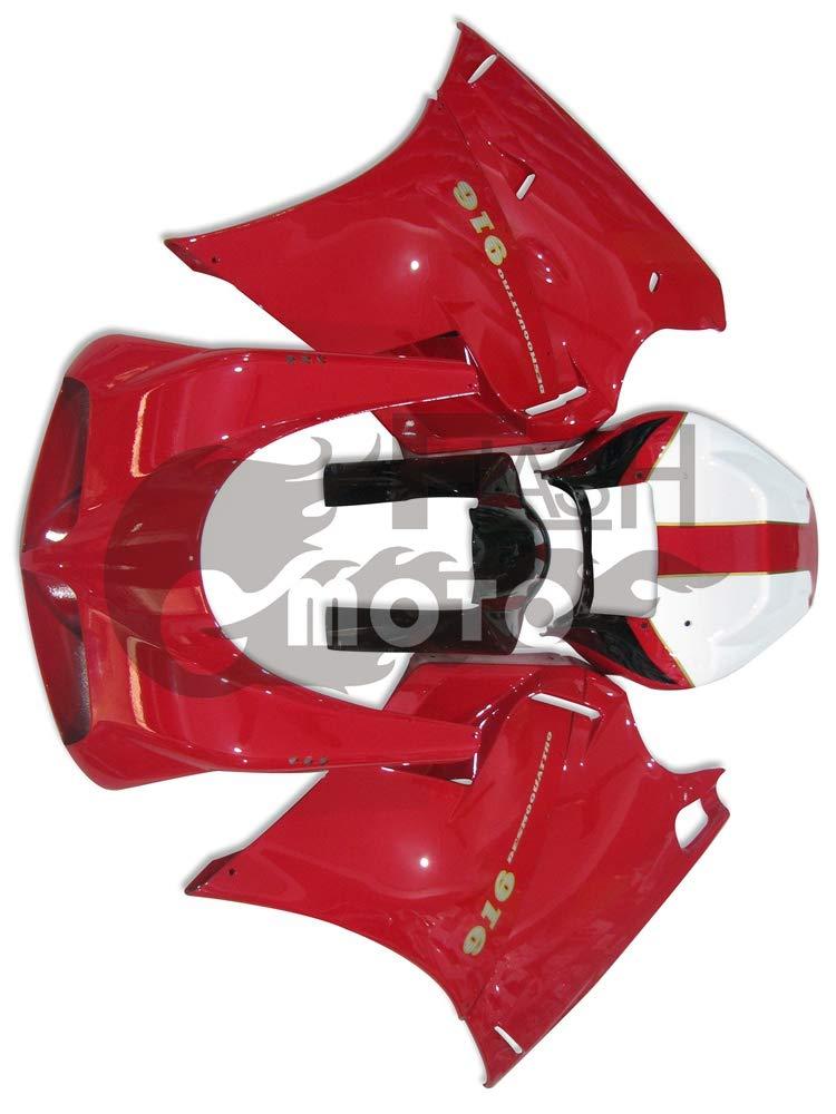 FlashMoto ducati デュカティ 996 748 916 1996 1997 1998 1999 2000 2001 2002 998 Biposto用フェアリング 塗装済 オートバイ用射出成型ABS樹脂ボディワークのフェアリングキットセット レッド, ホワイト   B07L8B2FVZ