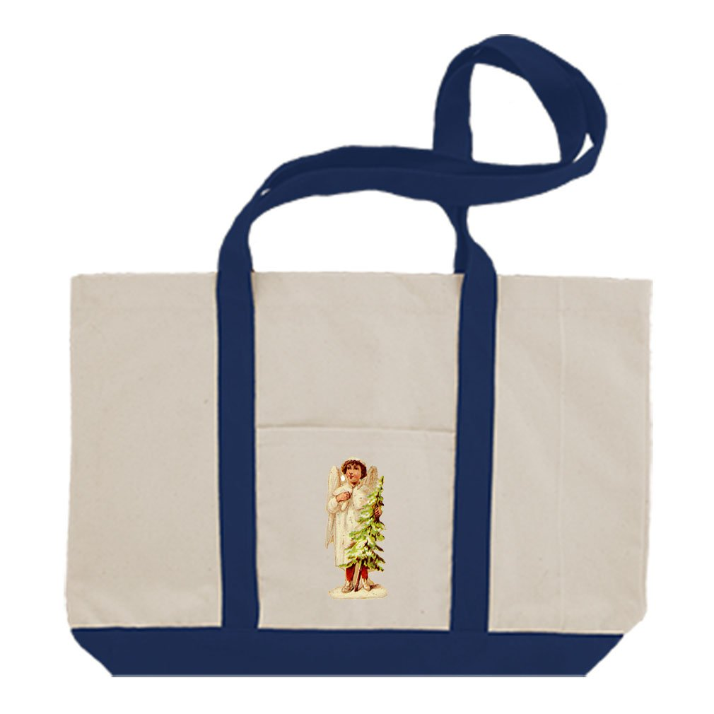 Canvas Boat Tote Bag Angel White Coat Holds Christmas Tree #6 By Style In Print | Royal Blue