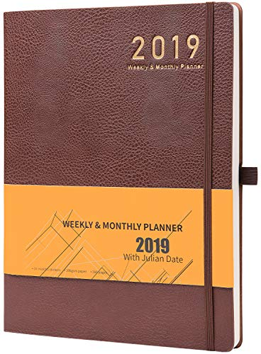 Planner 2019 with Pen Holder -Academic Weekly, Monthly and Yearly Planner. Thick Paper to Achieve Your Goals, 8.5' x 11', Back Pocket with Julian Date - Bonus 24 Notes Pages, Gift Box