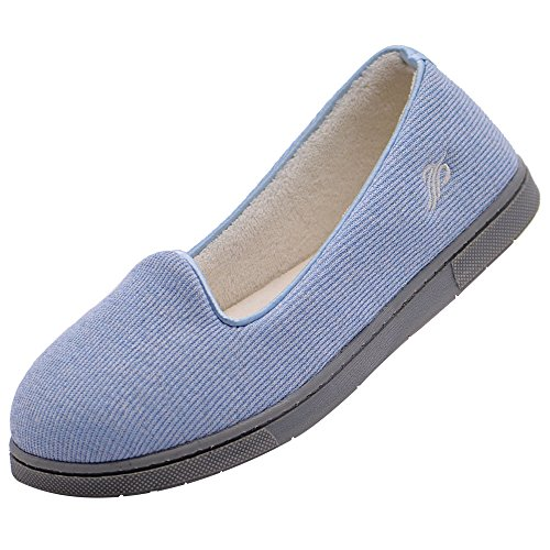 Wishcotton Light Breathable Slippers with Nonslip Sole,Light Blue,9 M US
