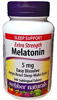 Webber Naturals Melatonin, 5 mg, Easy Dissolve, 240 Sublingual Tablets