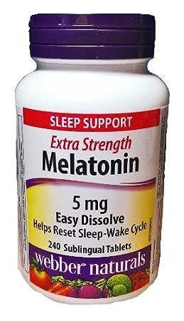 Amazon.com: Webber Naturals Melatonin, 5 mg, Easy Dissolve, 240 Sublingual Tablets: Health & Personal Care