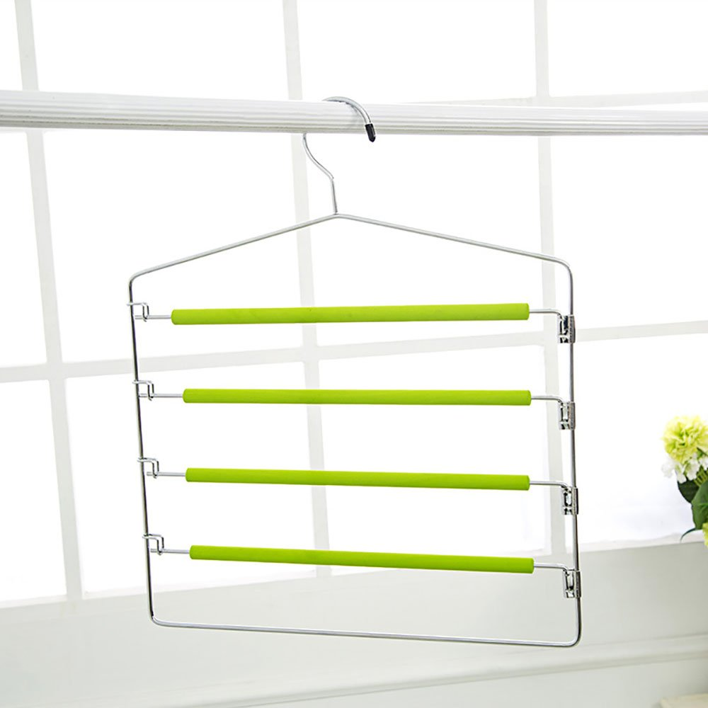 Spring Fever 4-Tier Swing Arm Pants Rack, Chrome Steel Hangers for Slacks Trouser Jeans Scarf Foam Padded Apple Green SUADGEA0049SF