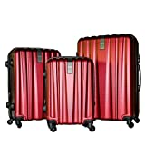 3 Piece Luggage Set Durable Lightweight Hard Case Spinner Suitecase LUG3-HD1603-DARK RED
