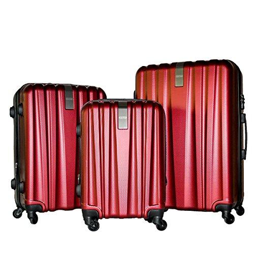 3 Piece Luggage Set Durable Lightweight Hard Case Spinner Suitecase LUG3-HD1603-DARK RED by HyBrid & Company