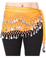 Costume Danse Orientale Sequins argent, orange, Belly Dance Foulard Danse du Ventre Jupe