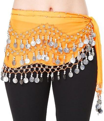Disfraz danza oriental lentejuelas plata, naranja, Belly Dance ...