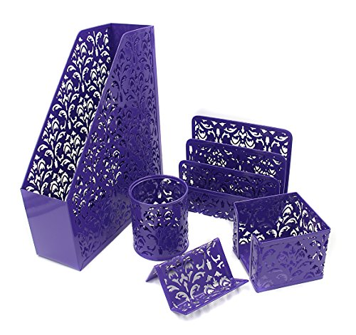 EasyPAG Carved Hollow Flower Pattern 5 in 1 Desk Organizer Executive Office Set - File Holder,Letter Sorter , Pen Holder ,Business Card Holder and Stick Note Holder-Purple