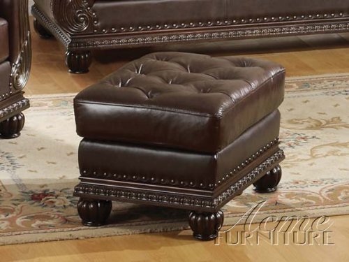 Anondale Cherry Finish Top Grain Leather Ottoman ACS 105034