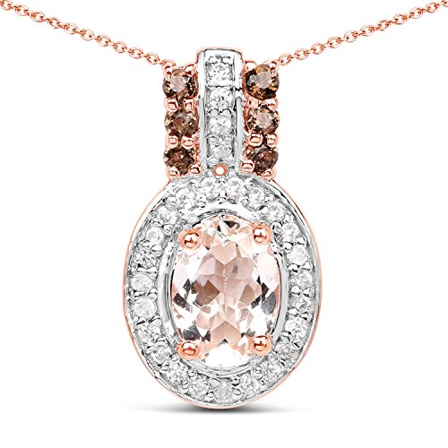 18k Rose Gold Plated Genuine Morganite, Pink Smoky Quartz and White Zirconia .925 Sterling Silver Pendant Necklace ()