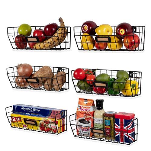 Wall35 Macon Wall Mounted Kitchen Storage Metal Wire Fruit Basket Black (6)