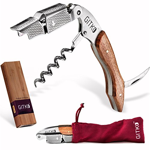 Wine Opener & Waiters Corkscrew-With a Comfortable Rosewood handle - Wine And Beer Bottle Opener For Bartenders, Waiters, -With A Wine Key Foil Cutter - With a Nice Pouch Included