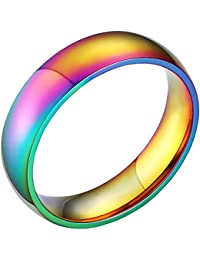 Rainbow Wedding Bands Classic 6MM Titanium Stainless Steel Gay Lesbian True Love Engagement Promise Rings Size 6-12