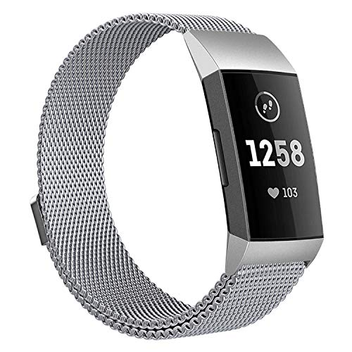 Pobon Compatible with Fitbit Charge 3 Bands, Milanese Loop Stainless Steel Bracelet with Magnet Clasp Fitbit Charge 3 Replacement Bands for Women Men, S/L Size (Large 6.1-9.9)
