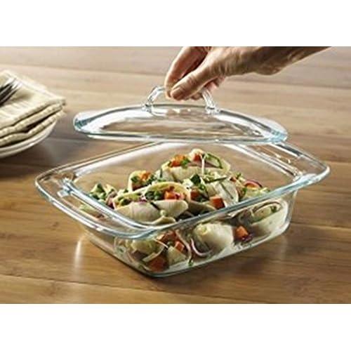 Pyrex Bakeware 2-Quart Casserole Dish with Lid (Rectangular w/Large Handles)