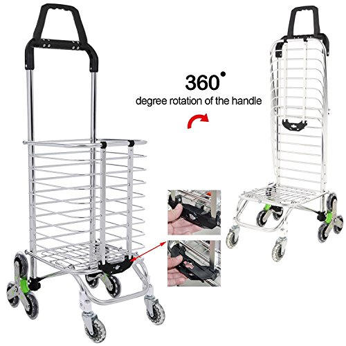 Utheing Folding Aluminum Stair Climbing Shopping Cart with Swivel Wheel Bearings and Waterproof Oxford Cloth Bag, Capacity of 177 pounds (Type2) by Utheing (Image #4)