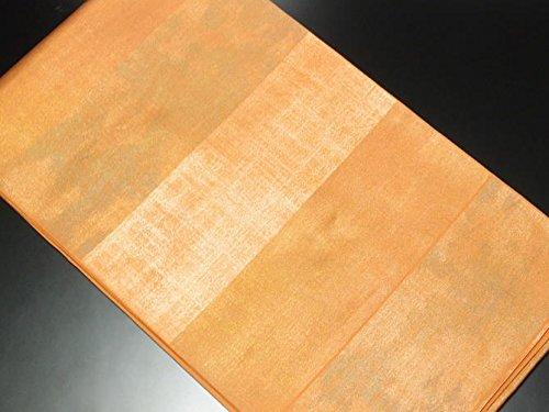 腰自分の株式会社リサイクル袋帯/正絹横段オレンジ地袋帯(ふくろおび 丸帯リサイクル着物)【ランクA】