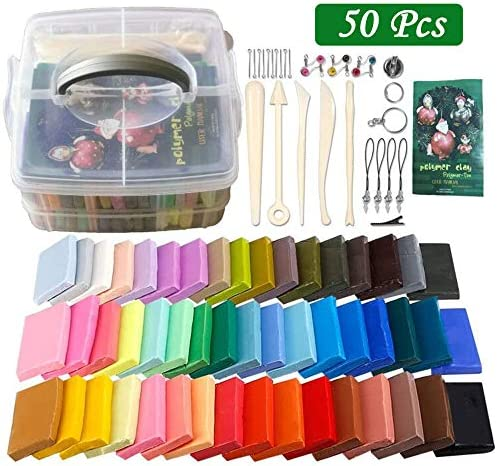 Polymer Clay Starter Kit 50 Colors 0.7 oz/Block Oven Bake Clay Baking Modeling Clay DIY Craft ClaySculpting Clay Tools and Accessories for Kids and Adult