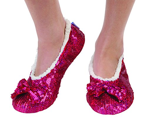 Snoozies! Pantofole Gioiello Bling Gioiello Tono Metallico Luccicante Pantofole Da Donna Rosa Scuro