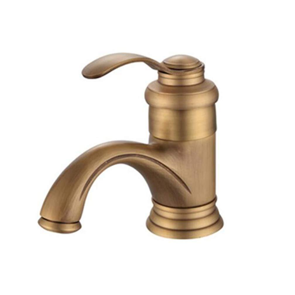 Rubinetto per lavabo, Valvola per lavandino, Quadrato per bagno, Doppio controllo di Hot Mix e acqua fredda, Zincato spazzolato, Retro in rame, Senza ruggine, Oro (Color : -, Size : -) Prezzi