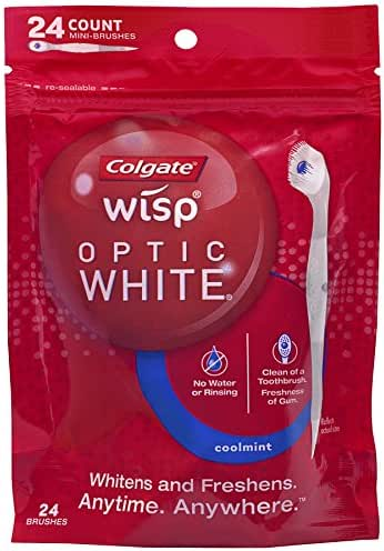 Colgate Optic White Wisp Disposable Mini Toothbrush, Coolmint - 24 Count