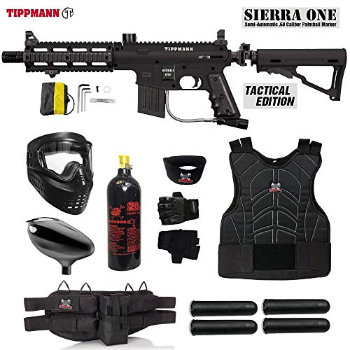 Maddog Tippmann Sierra One Starter Protective CO2 Paintball Gun Package - Black (Paintball Gun For Beginners)