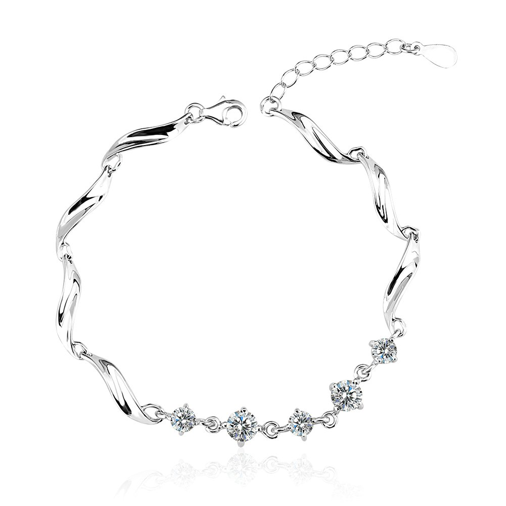 OUXi 925 Sterling Silver Unique Design Bracelet with Cubic Zirconia for Women