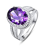 BONLAVIE Vintage 10.2ct Created Purple Amethyst Engagement Ring 925 Sterling Silver for Women