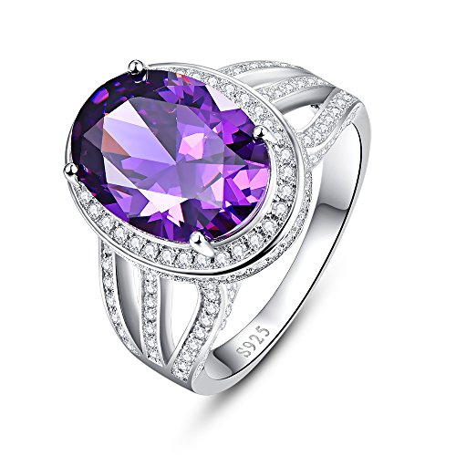 BONLAVIE 925 Sterling Silver Solitaire Engagement Ring with 10x14mm Oval Cut Created Amethyst Size 9