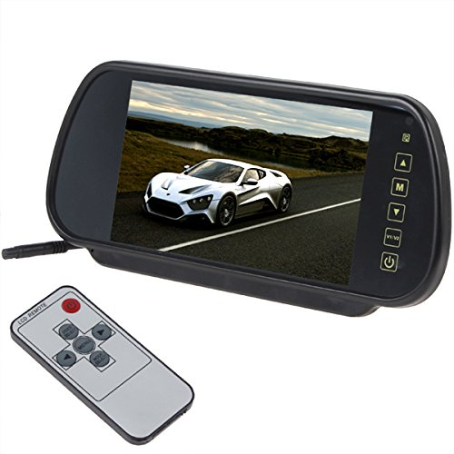 (7 Inch 16:9 TFT LCD Widescreen Car Rearview Monitor Mirror with Touch Button, 480(W)x 234(H) Screen Resolution, Car /Automobile Rear View Mirror Display Monitor Support Two Ways Of Video Output, V1/V2 Selecting)