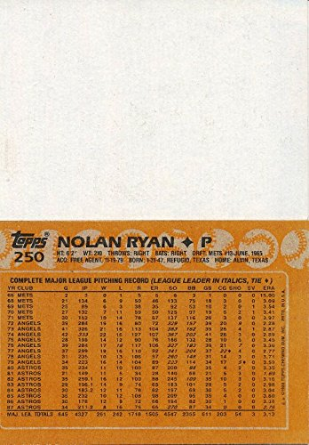 Rare Vintage 1988 Topps #250 Nolan Ryan Rare Blank Front Error Card Shipped in Ultra Pro Top Loader to Protect it!