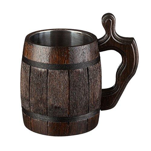 Beer Stein / Beer Mug / Tankard / Wooden Beer Mug By WoodenGifts - 0.6 Litres Or 20oz Wooden Mug - Rustic Barrel Design - Stainless Steel Cup (Brown Barrel)