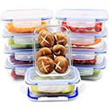 Glass Meal Prep Containers   10 Set Value Pack   Glass Food Storage Containers with Lids   Lunch Containers   BPA Free, Leak Proof, Oven Safe, Microwave Safe, Freezer Safe, Dishwasher Safe (22 Ounce)