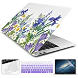 Batianda New MacBook Air 2018 2019 Case 13 inch with Retina Touch ID Model:A1932 Matte Clear See Through Hard Cover with Keyboard Skin Screen Trackpad Protector (Elegant Orchids)