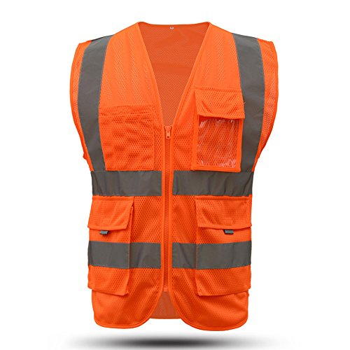 - Safety vests orange reflective for men and women |hi vis mesh safety vest with pockets |high visibility surveyor vest(orange, Large)