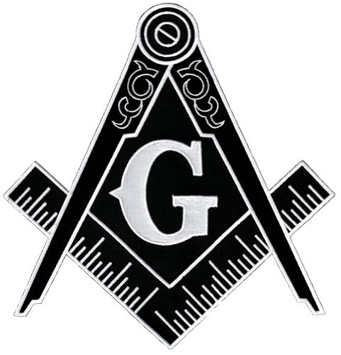 Masonic Logo Large Black Patch Embroidered Iron-On Freemason Emblem Square Compass