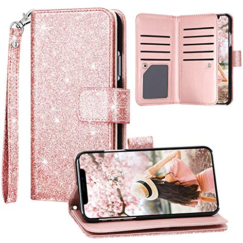 iPhone 11 Case, iPhone 11 Wallet Case, Fingic Glitter Sparkle Cover 9 Card Holder PU Leather Detachable Wrist Strap Wallet Case for Women Cover for Apple iPhone 11 2019 (6.1 inch), Rose Gold