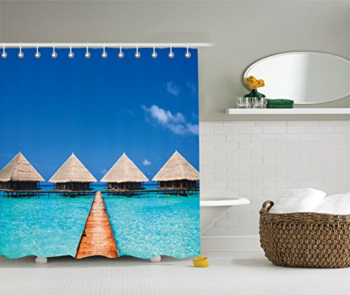 [House Decor Shower Curtain Set Maldives Dock With Clear Waters Tropical Nature Polynesian Home Design Decor Bathroom Accessories Azure Turquoise] (Vintage Pin Up Girl Costume Ideas)