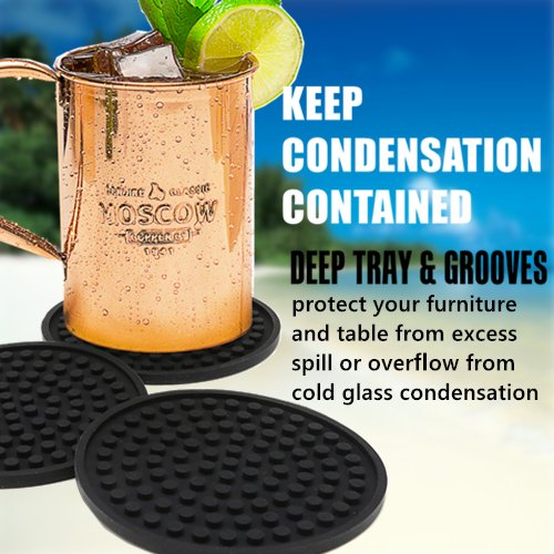 Large Product Image of Enkore Coasters Set of 6 in Holder - Protect Furniture From Water Marks & Damage - Good Grip, Deep Tray, Large 4.3 inch Size (Black)