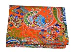 Kiara Indian Handmade Quilts Cotton Floral Print Reversible Kantha Paisley Pattern Bedspreads & Coverlets Stitch Throw Twin Size / Queen Size (Fruit Orange, Twin)