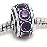 """Jewelry Monster Antique Finish """"Amethyst Purple"""" February Birthstone Spacer Charm Bead for Snake Chain Charm Bracelet"""