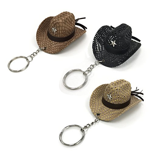 (Pack of 3pcs Classic western cowboy straw hat keychain, Cool keychains for men and women : 3x2.5)