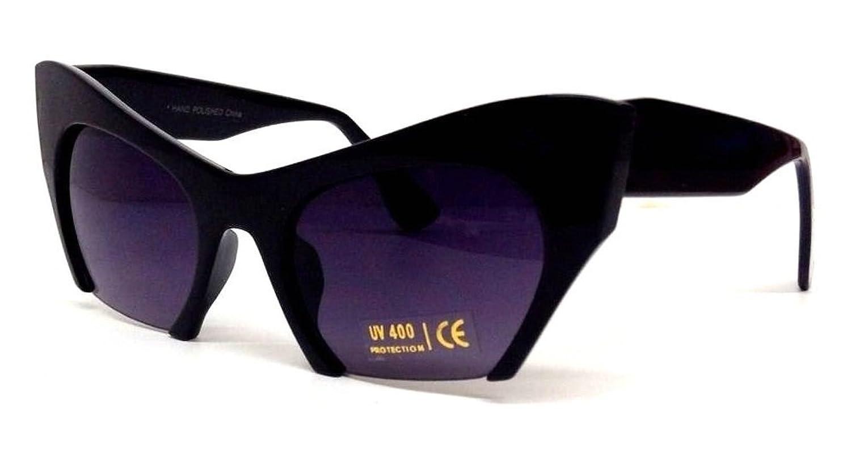 Black Cat Eye Cut Off Lens Sunglasses