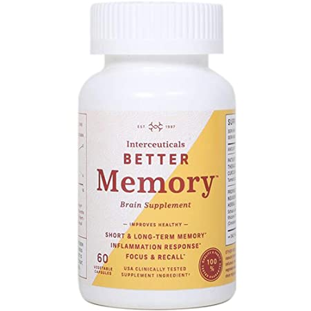 Interceuticals Better Memory – Theracurmin Curcumin 90 mg – Clinically Proven Dose, Improves Focus, Recall, Memory, and Mood* – High Absorption Turmeric Extract* 1 Bottle