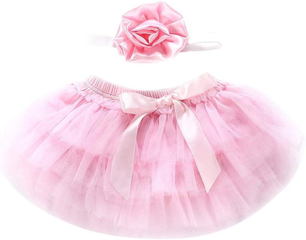 Newborn Infant Kids Baby Girl Bowknot Tulle Tutu Skirts+Headband Outfits Clothes LuckyBB Baby Girls Tutu Skirts