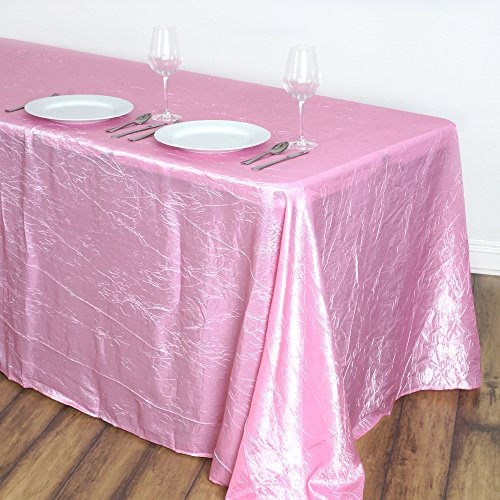 BalsaCircle 90x132-Inch Pink Rectangle Crinkled Taffeta Tablecloth Table Cover Linens for Wedding Party Kitchen Dining -