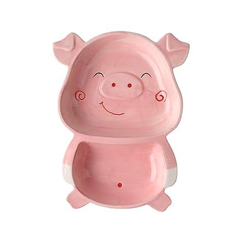 Amazon.com: HYDT - Plato infantil de cerdo con dibujos ...