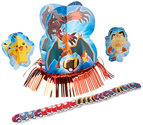 Electrifyingly Cute Pikachu & Friends Birthday Party Assorted Table Decorating Kit, Pack Of 23, Blue , 12 1/2