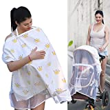 FOONEE Breastfeeding Cover with Adjustable Strap, Breastfeeding Scarf Nursing Cover - Infant Blanket High Chair Seat Canopy