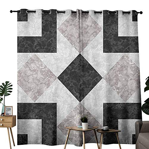 duommhome Marble Windshield Curtain Nostalgic Marble Stone Mosaic Regular Design with Alluring Elements Artwork Print for Living, Dining, Bedroom (Pair) W84 x L96 Black Beige